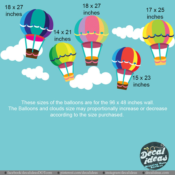Hot Air Balloon Wall Decals - Nursery Wall Decal, Printed Wall Decals,  Printed Air Balloon wall Stickers , Hot Air Balloon Sticker P-50088-D