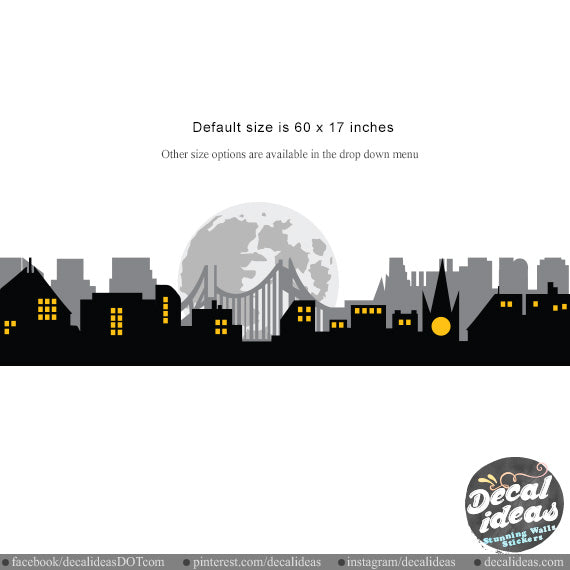 City Skyline Silhouette Wall Decal Kids Wall Decor Sticker -  BM1021