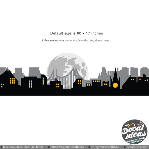 Boys Wall Decal City Skyline Silhouette Wall Decal Kids Wall Decor Sticker -  BM1021 - Decalideas Wall Decals