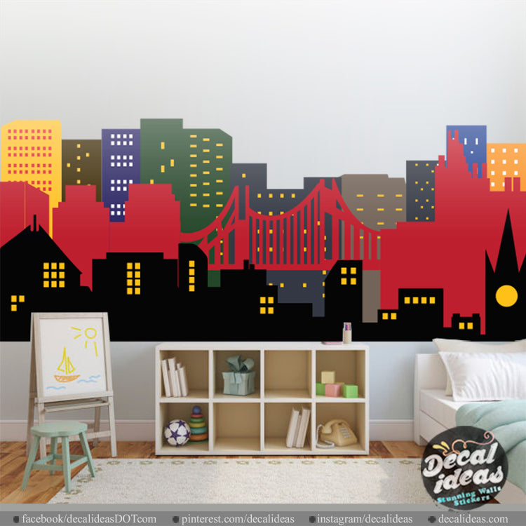 Nursery Wall Decal Sticker - City Skyline Wall Decal - Printed City Skyline Wall Decal Sticker - BM1031 - Decalideas Wall Decals