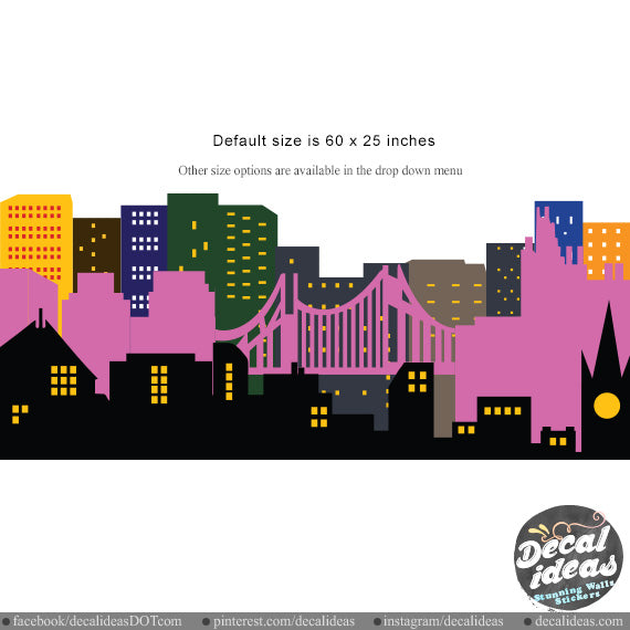 Nursery Wall Decal Sticker - City Skyline Wall Decal - Printed City Skyline Wall Decal Sticker - BM1031