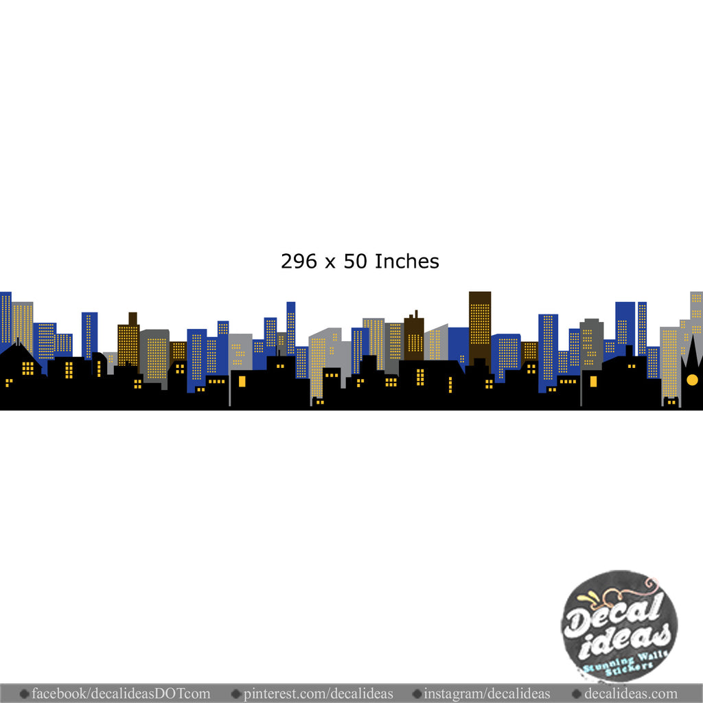 Custom City Skyline Wall Decal - Decalideas Wall Decals