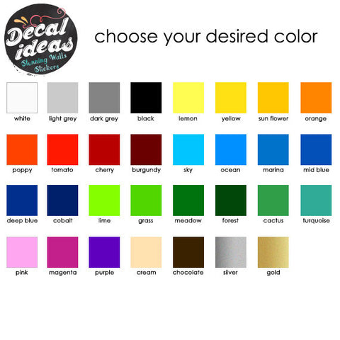 Vinyl Decal Color Samples