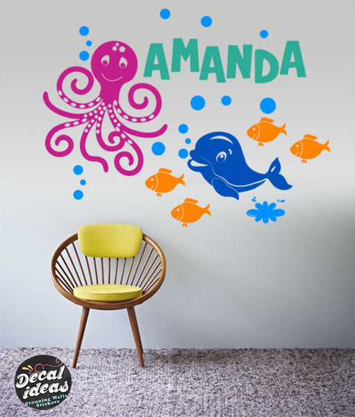 Under the Sea Nursery | Nautical Nursery Theme for Baby Nursery | Ocean Friends | Children's Room Sea Creatures Wall decals P-50068-D