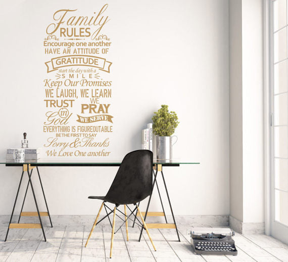 Family rules Wall Art Wall Decal, house rules wall decal, large wall decals, wall sticker, vinyl wall quote