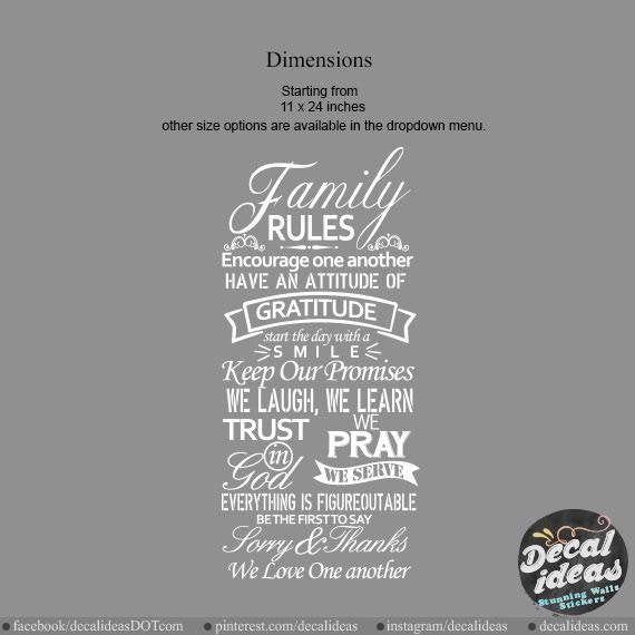 Family rules Wall Art Wall Decal, house rules wall decal, large wall decals, wall sticker, vinyl wall quote - Decalideas Wall Decals