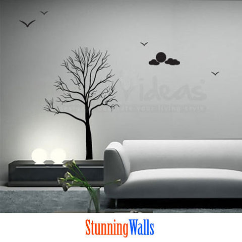 Birch Tree Decal - Tree wall decal with moon and clouds - Nature Wall Decal Sticker - moon wall decal D-50098-D