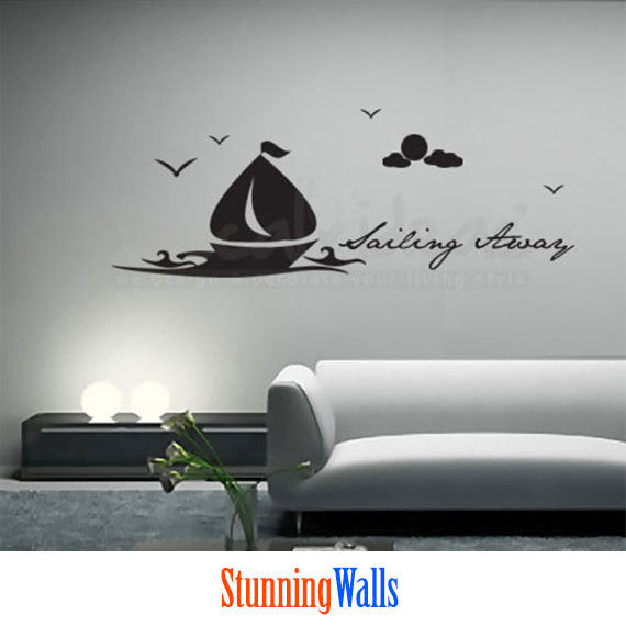 Sailboat Wall Decal - birds decal - moon decal - clouds with Sailing Away text Wall Decals Sticker