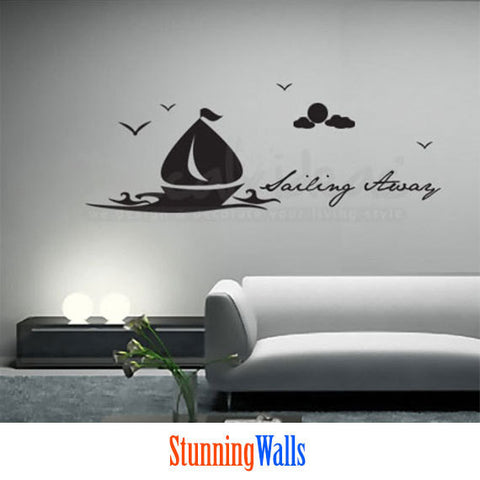 Sailboat Wall Decal - birds decal - moon decal - clouds with Sailing Away text Wall Decals StickerD-50045-D