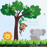 Nursery Jungle Safari Animal Wall Decal with Elephant, Lion and Monkey - Tree Wall Decal - Baby Wall Decal - Kids Wall Decal P-50058-D