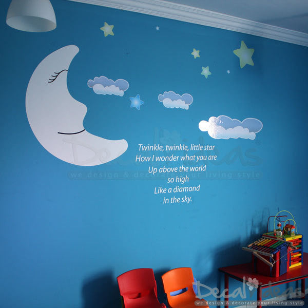 Twinkle Twinkle Little Star with Clouds Moon Stars - Printed and Vinyl Wall Decals Sticker P-50025-D