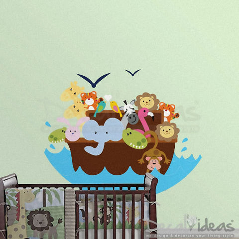 Elephant Lion and Monkey - Birds Printed Wall Decal - Noah Arc - Animal Boat Decal - Noah Arc Wall Decal - Baby Wall Decal