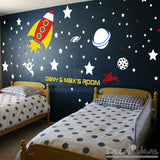 Rocket Ship Wall Decal, Planets wall Decal, Outer Space wall Decal - Boys Room  - Custom Name - Vinyl Sticker- Stars Decal