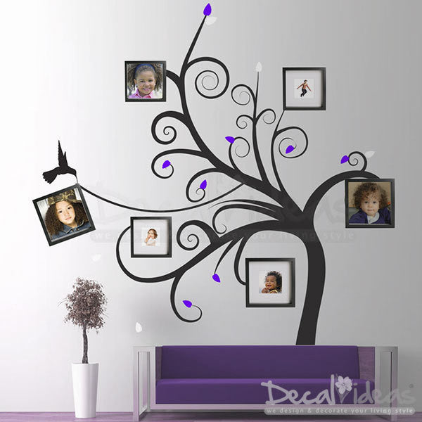 Family Tree Wall Decal - Photo Frame Family Swirl Tree Decal Stickers - Swirl Tree Decor - Vinyl Wall Decal Sticker - D-500115-D