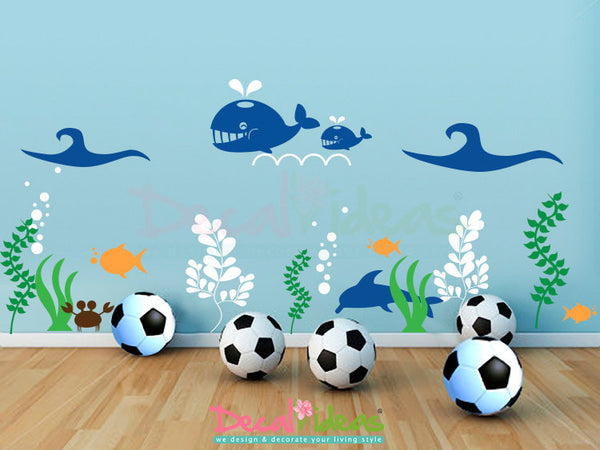 Sea Life Aquarium Wall Decals, Nursery Decals, Under the Sea Decal, Sea Animals, Oceanic Wall Decal,Kids Decal,Sea Life Decal