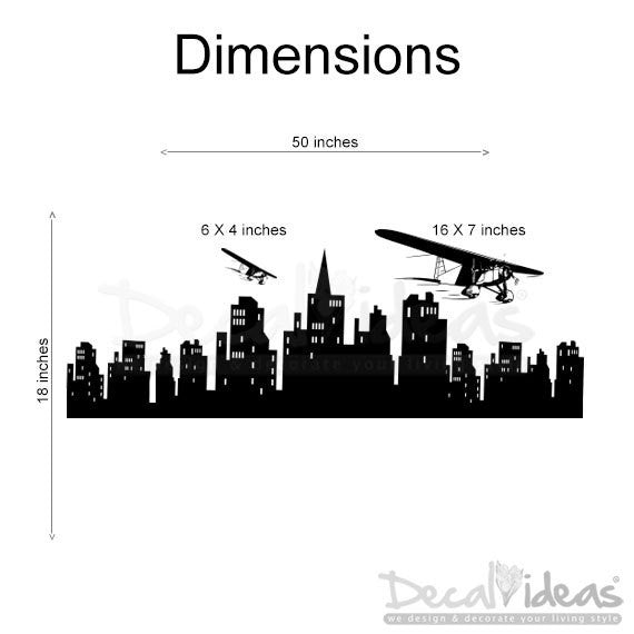 Airplane Decal Over City skyline Silhouette Modern wall decals D-50015-D - Decalideas Wall Decals