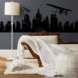 Airplane Decal Over City skyline Silhouette Modern wall decals D-50015-D