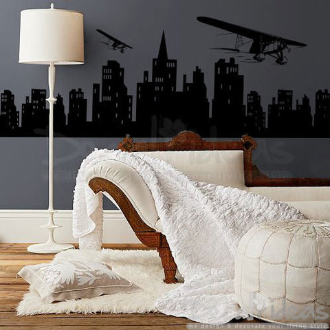 City Skyline Biplane - City Buildings- Air Planes Vinyl Decal Sticker - City Night Skyline - Biplanes Decals D-50015-D