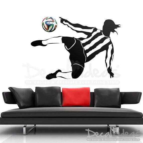 Soccer Player Ball Wall Decal, Football Wall Decal-Fifa Decal-World Cup Ball Decal-Children's Room - Football Room Decal Sticker - - Decalideas Wall Decals
