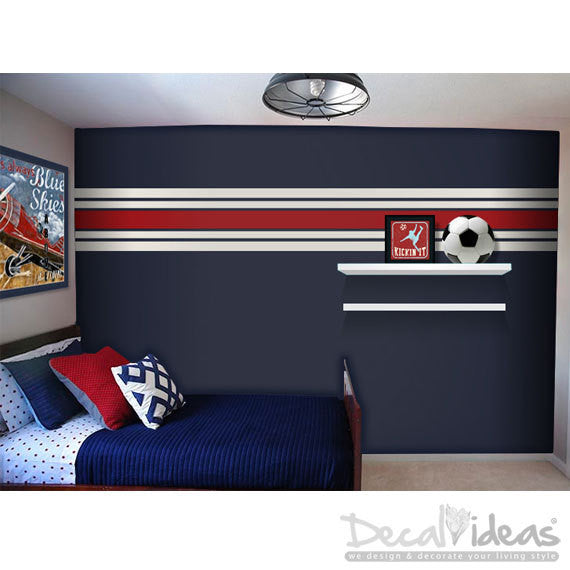 Wall Stripes Vinyl Wall Decals - Wall Runner Wall Decal Sticker - Wall Pattern Vinyl Wall Sticker - Customized - Decalideas Wall Decals