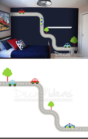 Car tracks oversized huge wall decal P-50075-D