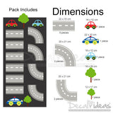 Car tracks oversized huge wall decal