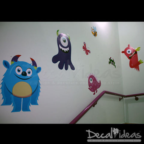 Monsters Wall Decal Sticker -  Printed Wall Decals - Nursery Stickers - Monster Decals - Nursery Monster Wall Stickers