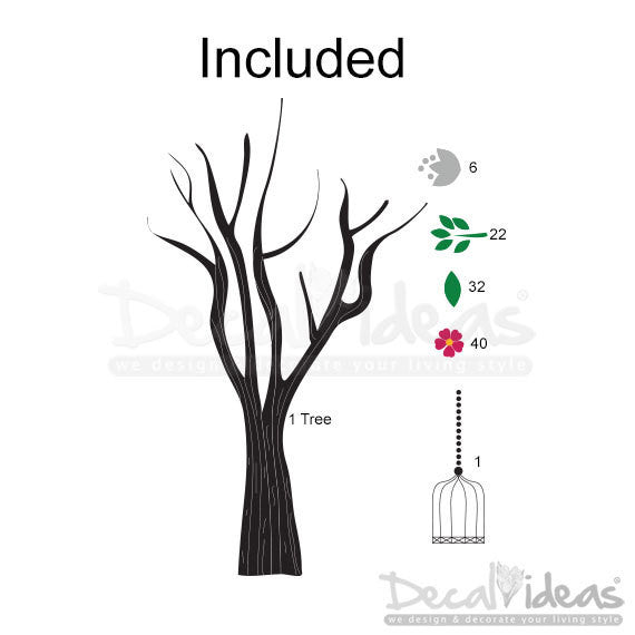 Tree Wall Decal - Cage Sticker - Flowers Decal - Leaves Decal - Nature Decal - Tree Cage Vinyl Wall Decal Sticker