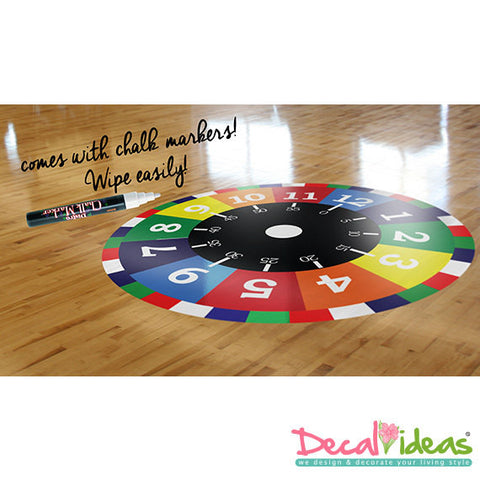 Nursery Decal - Time Learning Printed Decal - Printed Nursery Floor Decal, Floor Sticker with FREE White Erasable Marker P-50011-D