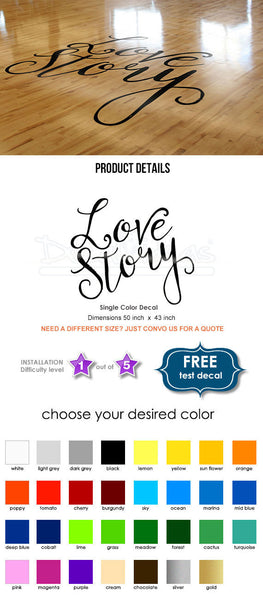 Wedding Floor Decal - Love Story Floor Decals - Personalized Wedding Reception - Dance Floor vinyl Decals