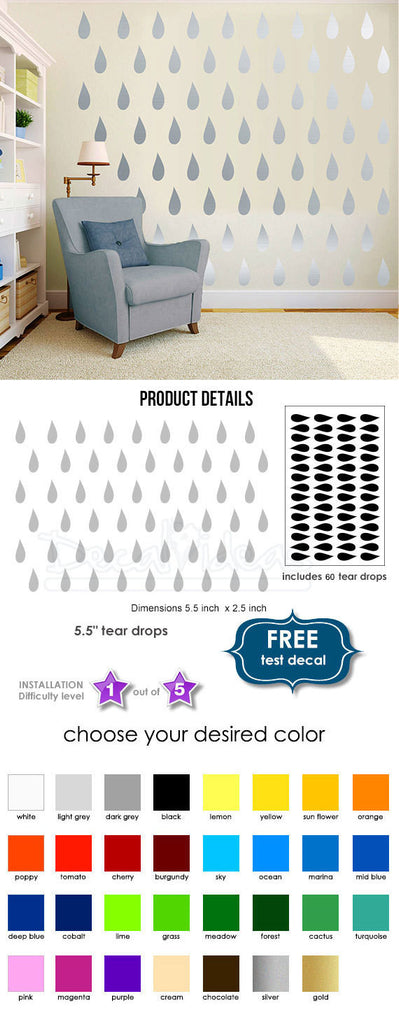 Tear Drops Wall Decal Sticker Set - Tears Decal for Walls - Tears Decal for home - Tear Decal set - Drops Decal - Drops Stickers D-50093-D