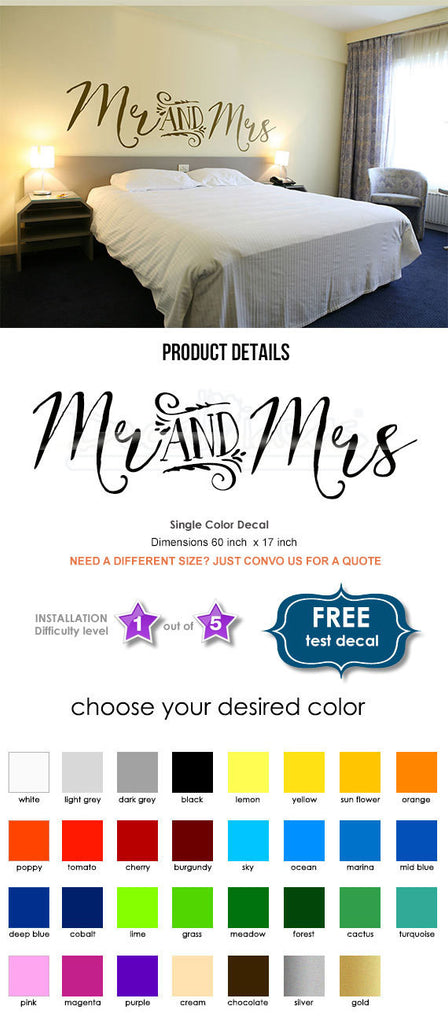 Copy of Bedroom Wall Decal - Mr and Mrs bedroom bed back vinyl wall decal - Wedding Stickers - Wedding wall decal - Bedroom Decal