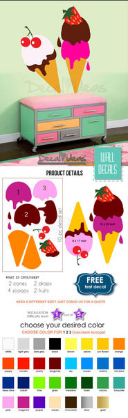 Ice Cream Scoops Wall Decal Sticker - Ice Cream Decal for Walls - Ice Cream Scoops Fruits - Ice Cream Fruits Decal set Multicolored Scoops