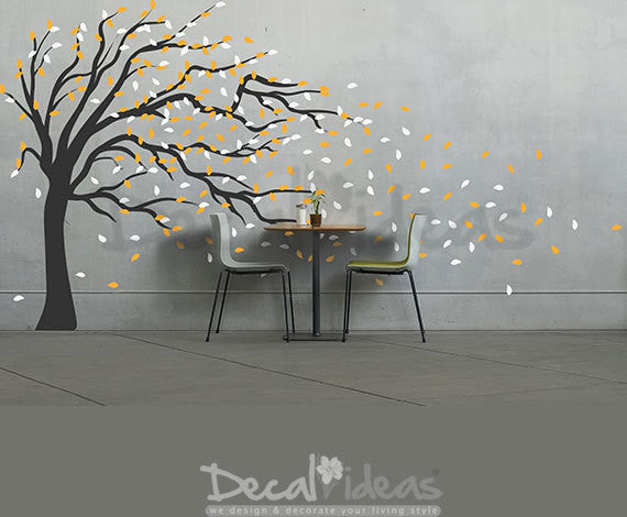 Tree Wall Decal - Blowing in the Wind Wall Decal -  Flying Leaves wall decal sticker - Bending Tree with Leaves