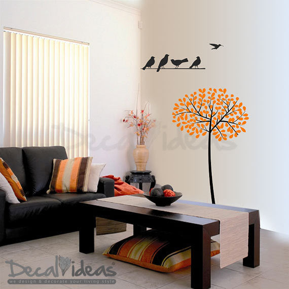 Tree Decal - Tree Leaves Birds on the stick Decals, Tree with Leaves  - Birds Vinyl Decals, Tree Decal, Tree and Birds, Wall Decal