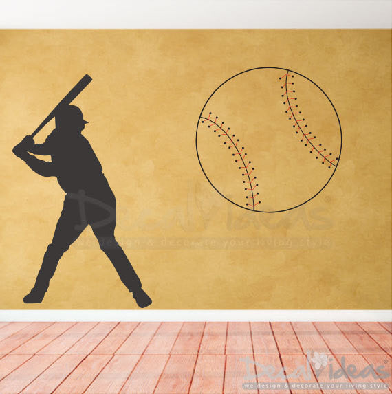 Sports Wall Decal Baseball Player Wall Decal For Kids
