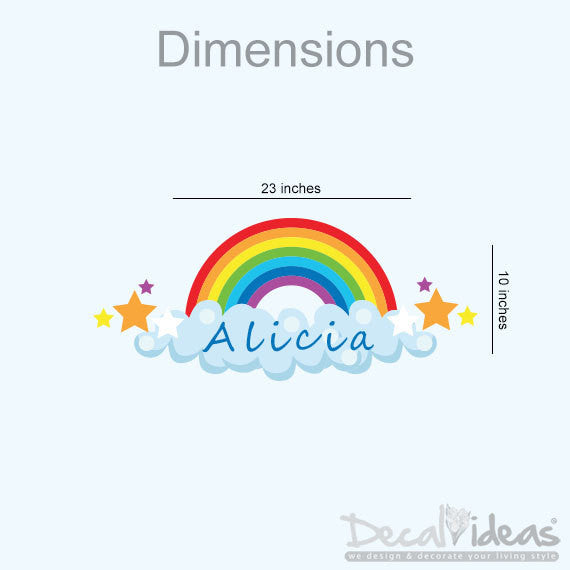 Nursery Wall Decal, Rainbow Sticker, Customized Name, Printed Wall Decal - Rainbow-Stars-Clouds- Nursery Star Rainbow Decal