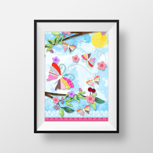 Tree Butterfly Nature Art print for Frame - Lovely Nature Art Print - Wall Hanging - Nature Art Print - Tree Sky Art Print - Original Art