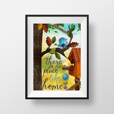 Nature Art for Frame - There is no place like Home Art Print - Wall Hanging - Nature Art Print - Tree Sky Art Print - Original Art