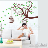 Tree Wall Decal - Leaves Decal,  Cage Wall Decal Sticker - Blowing in the Wind Wall Sticker - Stylish Tree Leaves Flower Cage
