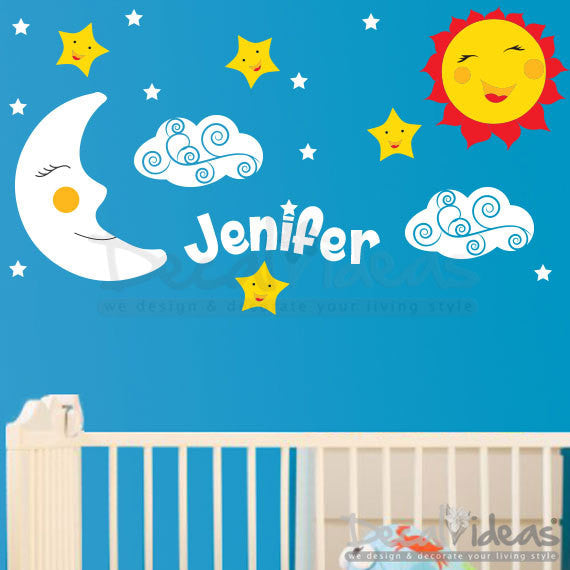 Stars Clouds Moon Sun with Custom Name Wall Decal Stickers - Nursery D u2013 Decalideas Wall Decals  sc 1 st  Decalideas Wall Decals & Stars Clouds Moon Sun with Custom Name Wall Decal Stickers - Nursery ...