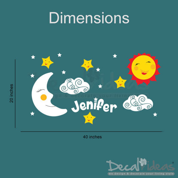 Stars Clouds Moon Sun with Custom Name Wall Decal Stickers - Nursery Design Smiling Sun Sleeping Moon and Stars Vinyl Wall Decals Sticker