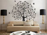Tree Decal  - Vinyl Wall Decals - wall decals for living room - wall decals for bedroom - FREE Flying Birds wall decal stickerP-50090-D