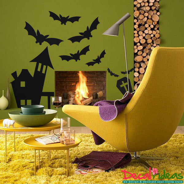 Halloween Decals - Haunted House Vinyl Decals - Tombstone Decals - Halloween Bat Decal - Halloween Theme Decals - Halloween Vinyl Stickers