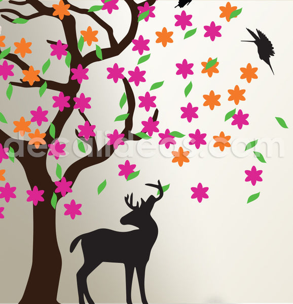 Large Tree Wall Decals Trees Decal Nursery Wall Decals, Woodland Wall decal, Animals wall decal