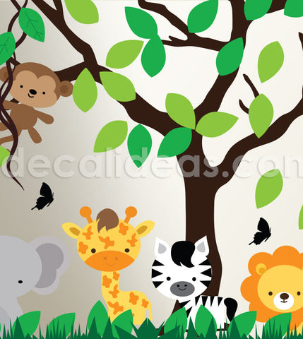 jungle wall stickers for kids rooms, giant wall stickers for kids bedroom II