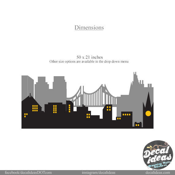 City Skyline Wall Decal, Vinyl Wall Decals-   P-50079-D