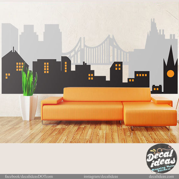 City Skyline, Superheroe Wall Mural, City Skyline Wall Decal, Vinyl Wall Decals- Superhero Mural Personalized Decals, peel and stick