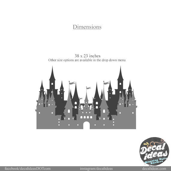 Princess Castle Wall Decal, Castle wall Decal, Palace wall Decal - Girls Room  - Custom Wall Decal - Castle Vinyl Sticker- Princess Room