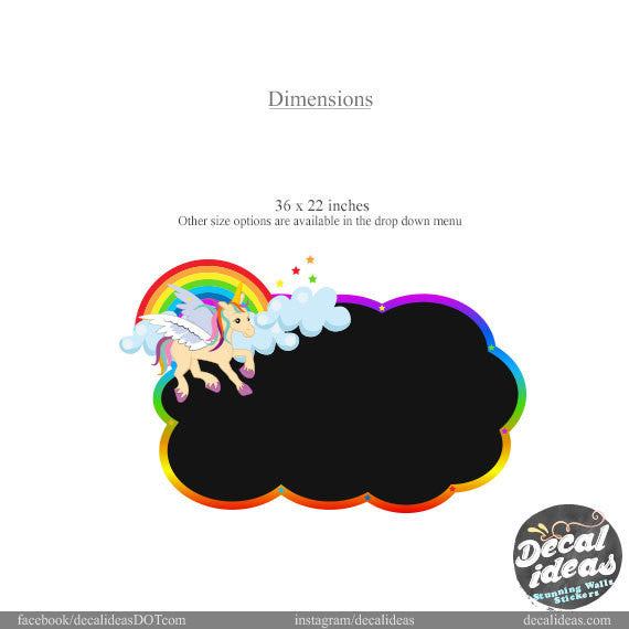 Copy of Chalkboard Wall Decal, Rainbow Pony Wall Mural, Classroom Wall Decal, Rainbow Wall Decals, Nursery Wall Decal, Printed Eraseable Chalkboard